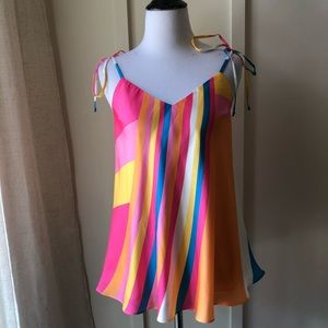 Julie Brown NYC Rainbow Stripe Shoulder Tie Top S